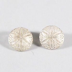 VINTAGE Sterling Filigree Flower Clip On Earrings